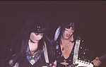 Nikki Sixx & Mick Mars of Motley Crue at Madison Square Garden Aug 1985.