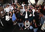 "Donald Webber Jr. with student performers before The Rockefeller Foundation and The Gilder Lehrman Institute of American History sponsored High School student #EduHam matinee performance of ""Hamilton"" at the Richard Rodgers Theatre on May 24, 2017 in New York City."