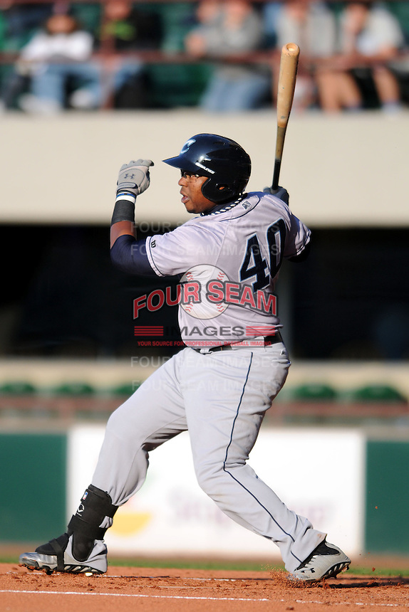 Columbus Clippers first baseman Mike McDade #40 during a game versus the Pawtucket Red Sox at McCoy Stadium in Pawtucket, Rhode Island on April 27, 2013.  (Ken Babbitt/Four Seam Images)
