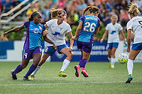 Allston, MA - Sunday July 31, 2016: Jamia Fields, Julie King, Samantha Witteman during a regular season National Women's Soccer League (NWSL) match between the Boston Breakers and the Orlando Pride at Jordan Field.