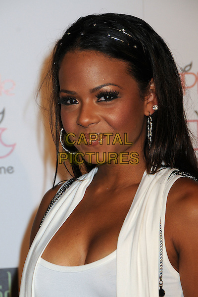 CHRISTINA MILIAN .Apple Lounge Grand Opening Party at Apple Lounge on Robertson, West Hollywood, California, USA..August 14th, 2008.headshot portrait white silver hoop earrings hairband alice band cleavage .CAP/ADM/BP.©Byron Purvis/AdMedia/Capital Pictures.