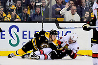 Tuesday, March 21, 2017: Ottawa Senators defenseman Mark Borowiecki (74) reacts after falling to the ice with Boston Bruins center Frank Vatrano (72) during the National Hockey League game between the Ottawa Senators and the Boston Bruins held at TD Garden, in Boston, Mass. Ottawa defeats Boston 3-2 in regulation time. Eric Canha/CSM