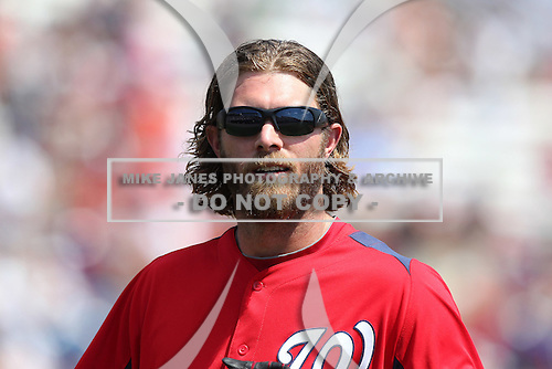 Washington Nationals Jayson Werth #28 during a spring training game against the Florida Marlins at Spacecoast Stadium on March 27, 2011 in Melbourne, Florida.  Photo By Mike Janes/Four Seam Images