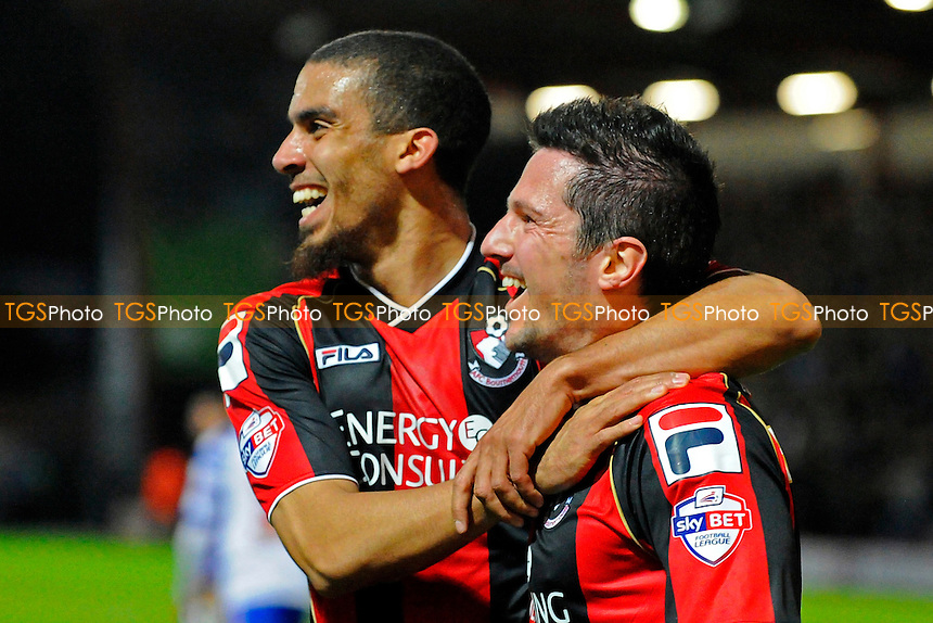 Lewis Grabban of AFC Bournemouth and Yann Kermorgant of AFC Bournemouth celebrate the third goal - AFC Bournemouth vs Reading - Sky Bet Championship Football at the Goldsands Stadium, Bournemouth, Dorset - 08/04/14 - MANDATORY CREDIT: Denis Murphy/TGSPHOTO - Self billing applies where appropriate - 0845 094 6026 - contact@tgsphoto.co.uk - NO UNPAID USE