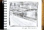 Paris Metro, Musee d'Orsay platform, Journal Art 2002, charcoal on paper,