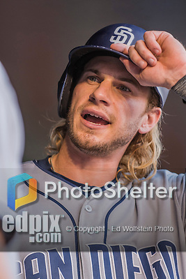 23 July 2016: San Diego Padres outfielder Travis Jankowski dons his batting helmet prior to the start of play against the Washington Nationals at Nationals Park in Washington, DC. The Nationals defeated the Padres 3-2 to tie their series at one game apiece. Mandatory Credit: Ed Wolfstein Photo *** RAW (NEF) Image File Available ***