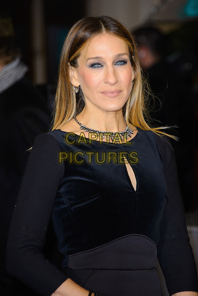 Sarah Jessica Parker.EE British Academy Film Awards at The Royal Opera House, London, England 10th February 2013.BAFTA BAFTAS arrivals  half length black top necklace velvet jumpsuit sjp  .CAP/CJ.©Chris Joseph/Capital Pictures
