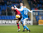 St Johnstone v Dundee&hellip;30.12.17&hellip;  McDiarmid Park&hellip;  SPFL<br />Marcus Haber battles with Joe Shaughnessy and David Wotherspoon<br />Picture by Graeme Hart. <br />Copyright Perthshire Picture Agency<br />Tel: 01738 623350  Mobile: 07990 594431