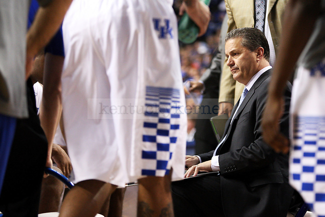 UK head coach John Calipari during a time out during the second half of the University of Kentucky vs. Grand Canyon University men's basketball game at Rupp Arena in Lexington, Ky., on Friday, November 14, 2014. UK won 85-45. Photo by Tessa Lighty | Staff