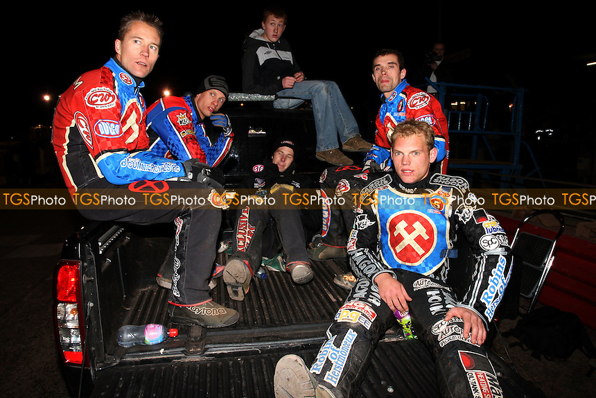 The Hammers riders at the end of the meeting - Lakeside Hammers vs Swindon Robins - Sky Sports Elite League Play-Off Semi-Final at Arena Essex, Purfleet - 29/09/08 - MANDATORY CREDIT: Gavin Ellis/TGSPHOTO - Self billing applies where appropriate - 0845 094 6026 - contact@tgsphoto.co.uk - NO UNPAID USE.