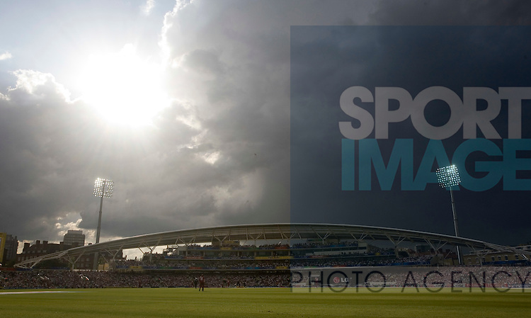 Storm clouds gather over the Oval Cricket Ground.