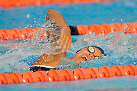 15 October 2010:  FIU's Vanessa Moreno competes in the 500 yard freestyle during the meet between the FIU Golden Panthers and the University of Miami Hurricanes at the Norman Whitten Student Union Pool in Coral Gables, Florida.