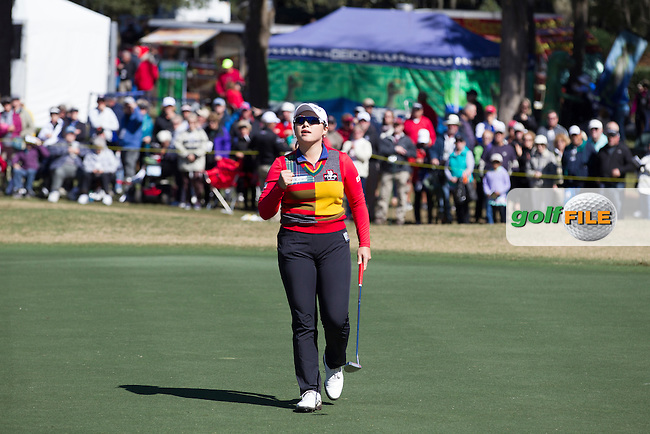 Ha Ha Jang celebrates after sinking her putt on the 18th  to take the lead at the end of the continuation of the Second round of the LPGA Coates Golf Championship 2016 , from the Golden Ocala Golf and Equestrian Club, Ocala, Florida. 5/2/16<br /> Picture: Mark Davison | Golffile<br /> <br /> <br /> All photos usage must carry mandatory copyright credit (&copy; Golffile | Mark Davison)