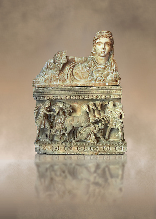 Etruscan Hellenistic style cinerary, funreary, urn , with a chariot, inv 5704,  National Archaeological Museum Florence, Italy
