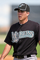 Jake Realmuto of the Gulf Coast League Marlins during the game at the Washington Nationals Training Complex in Viera, Florida August 28 2010. Realmuto was the Florida Marlins 3rd round pick (104th overall) of the 2010 MLB Draft. Photo By Scott Jontes/Four Seam Images