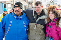Mike Williams, Ray Redington Jr. and DeeDee Jonrowe at Nome on Wednesday March 14th in the 46th running of the 2018 Iditarod Sled Dog Race.  <br /> <br /> Photo by Jeff Schultz/SchultzPhoto.com  (C) 2018  ALL RIGHTS RESERVED