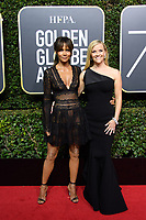Halle Berry and Reese Witherspoon, nominated for BEST PERFORMANCE BY AN ACTRESS IN A LIMITED SERIES OR A MOTION PICTURE MADE FOR TELEVISION for her role in &quot;Big Little Lies,&quot; arrive at the 75th Annual Golden Globe Awards at the Beverly Hilton in Beverly Hills, CA on Sunday, January 7, 2018.<br /> *Editorial Use Only*<br /> CAP/PLF/HFPA<br /> &copy;HFPA/PLF/Capital Pictures