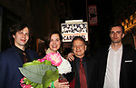 As The World Turns' Margaret Colin & husbaned Justin Deas pose with sons Sam and Joe (R) - Margaret Colin stars as Mrs. Mullin in Broadway's Carousel with opening night being April 12, 2018 at the Imperial Theatre at the stage door, New York City. New York. (Photo by Sue Coflin/Max Photo)