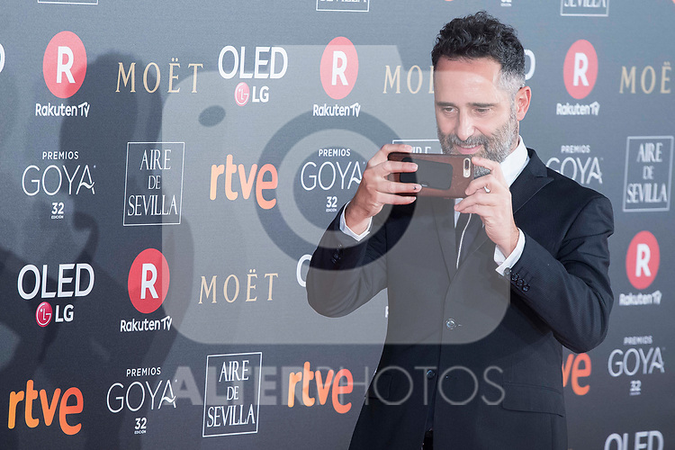 Jorge Drexlet taking a photo of Leonor Watling during red carpet of Goya Cinema Awards 2018 at Madrid Marriott Auditorium in Madrid , Spain. February 03, 2018. (ALTERPHOTOS/Borja B.Hojas)