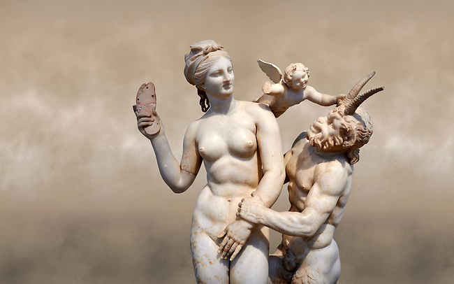 Hellenstic marble statue group of Aphrodite (Venus) with Pan and Eros, Circa 100 BC, House of Poseidonaistai of Beryttos, Delos, Athens National Archaeological Museum.  Cat no 3335.<br /> <br /> The nude goddess Aphrodite (Venus) attempte to fend off goat footed Pan who make erotic advances towards her. Aphrodite holds a sandal in her right hand threatening Pan while the winged god Eros comes to her aid. According to an inscription on the statues base it was dedicated to Dionysus of Beryttos (Beirut) to hai ancestral gods.