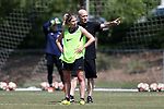 CARY, NC - APRIL 20: Head coach Paul Riley (ENG) (right) coaches McCall Zerboni (7). The North Carolina Courage held a training session on April 20, 2017, at WakeMed Soccer Park Field 7 in Cary, NC.