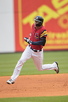 Toledo Mud Hens outfielder Jacoby Jones (4) runs to third base against the Lehigh Valley IronPigs during the International League baseball game on April 30, 2017 at Fifth Third Field in Toledo, Ohio. Toledo defeated Lehigh Valley 6-4. (Andrew Woolley/Four Seam Images)