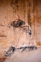 Faded religious mural in the 16th century Ex Convento de San Francisco in Tzintzuntzan on Lake Patzcuaro, Michoacan, Mexico