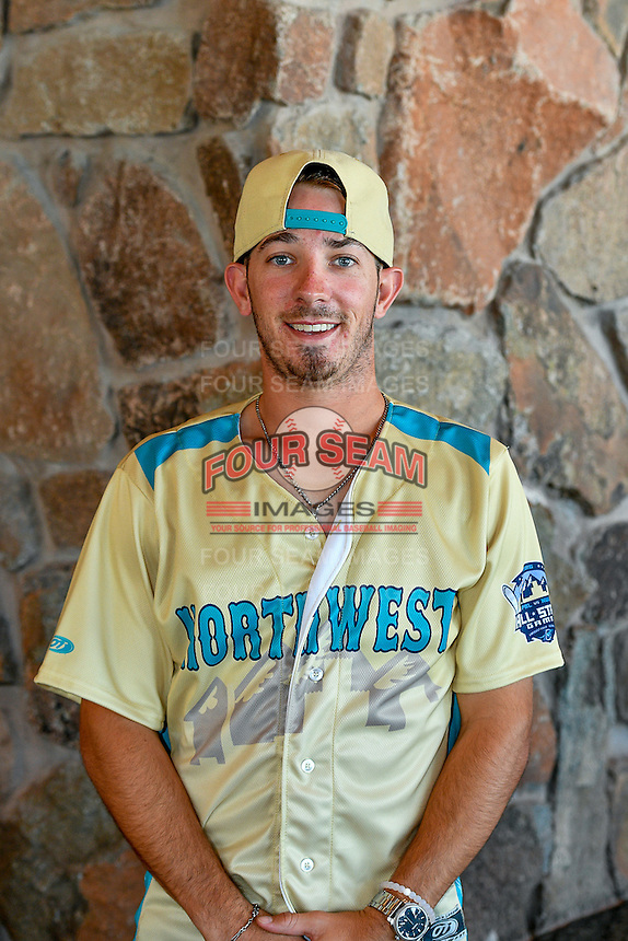Seth Spivey (6) of the Spokane Indians and the Northwest League All-Stars poses for a photo during activities before the 2nd Annual Northwest League-Pioneer League All-Star Game at Snowbasin Resort on August 1, 2016 in Ogden, Utah. (Stephen Smith/Four Seam Images)