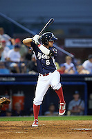 Reading Fightin Phils second baseman Brodie Greene (8) at bat during a game against the New Britain Rock Cats on August 7, 2015 at FirstEnergy Stadium in Reading, Pennsylvania.  Reading defeated New Britain 4-3 in ten innings.  (Mike Janes/Four Seam Images)