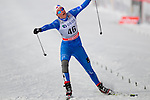 HOLMENKOLLEN, OSLO, NORWAY - March 17: Marte Monrad-Hansen of Norway (NOR) falls while crossing the finish line at the Ladies 30 km mass start race, free technique, at the FIS Cross Country World Cup on March 17, 2013 in Oslo, Norway. (Photo by Dirk Markgraf)
