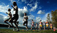 Boys run along the shores of Lake Sammamish as they compete in the  Sea-King boys' cross country meet at Lake Sammamish State Park. (Photo by Scott Eklund)
