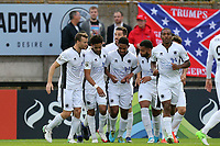 Bruno Andrade of Boreham Wood is congratulated after scoring the opening Wood goal during Boreham Wood vs Dagenham & Redbridge, Vanarama National League Football at Meadow Park on 8th August 2017