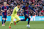 Vitorino Gabriel Pacheco Antunes of Getafe CF (L) fights for the ball with Ousmane Dembele of FC Barcelona (R) during the La Liga 2017-18 match between FC Barcelona and Getafe FC at Camp Nou on 11 February 2018 in Barcelona, Spain. Photo by Vicens Gimenez / Power Sport Images