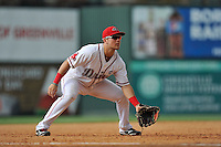 Third baseman Michael Chavis (11) of the Greenville Drive plays defense in a game against the Hagerstown Suns on Sunday, July 17, 2016, at Fluor Field at the West End in Greenville, South Carolina. Hagerstown won, 3-2. (Tom Priddy/Four Seam Images)