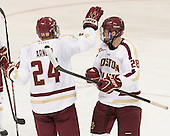 Bill Arnold (BC - 24), Scott Savage (BC - 28) - The Boston College Eagles defeated the visiting St. Francis Xavier University X-Men 8-2 in an exhibition game on Sunday, October 6, 2013, at Kelley Rink in Conte Forum in Chestnut Hill, Massachusetts.
