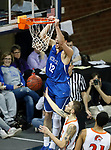 SIOUX FALLS, SD - MARCH 8:  Collin Kramer #12 of Dakota Wesleyan gets a dunk late in a game against Governors State at the 2018 NAIA DII Men's Basketball Championship at the Sanford Pentagon in Sioux Falls. (Photo by Dick Carlson/Inertia)