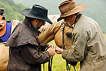 Chris and Marcsu fixing a strap on the bridle, Pasagshak Ranch, Kodiak Island, Alaska