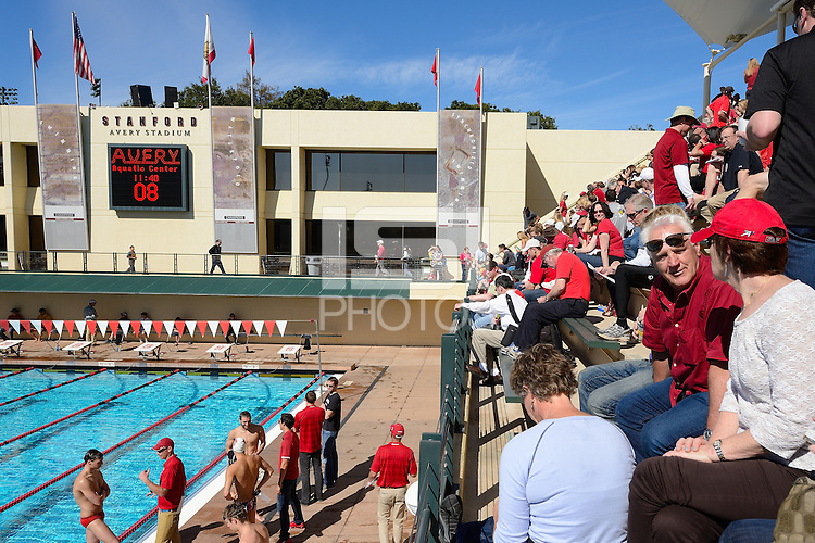 STANFORD, CA - FEBRUARY 22, 2014: Stanford Men's Swimming & Diving competes against the University of California - Berkeley at the Avery Aquatic Center on the campus of Stanford University.