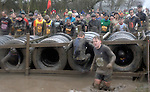 29.01.2017 Tough Guy Challenge Event <br /> Pertons Farm Wolverhampton UK Competitors<br /> braving the various obstacles and water in the rain during last edition of this annual event