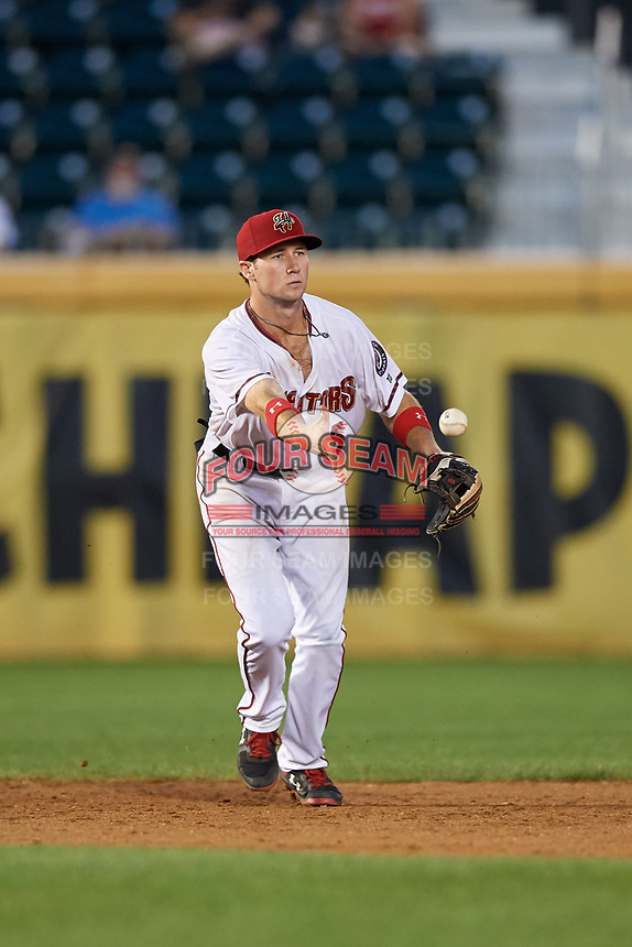 Harrisburg Senators shortstop Carter Kieboom (5) flips to second base during a game against the Erie SeaWolves on August 29, 2018 at FNB Field in Harrisburg, Pennsylvania.  Harrisburg defeated Erie 5-4.  (Mike Janes/Four Seam Images)