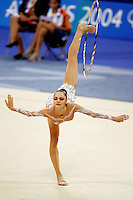 Anna Bessonova of Ukraine balances with hoop (swan) during All-Around final at 2004 Athens Olympic Games on August 29, 2006 at Athens, Greece. (Photo by Tom Theobald)