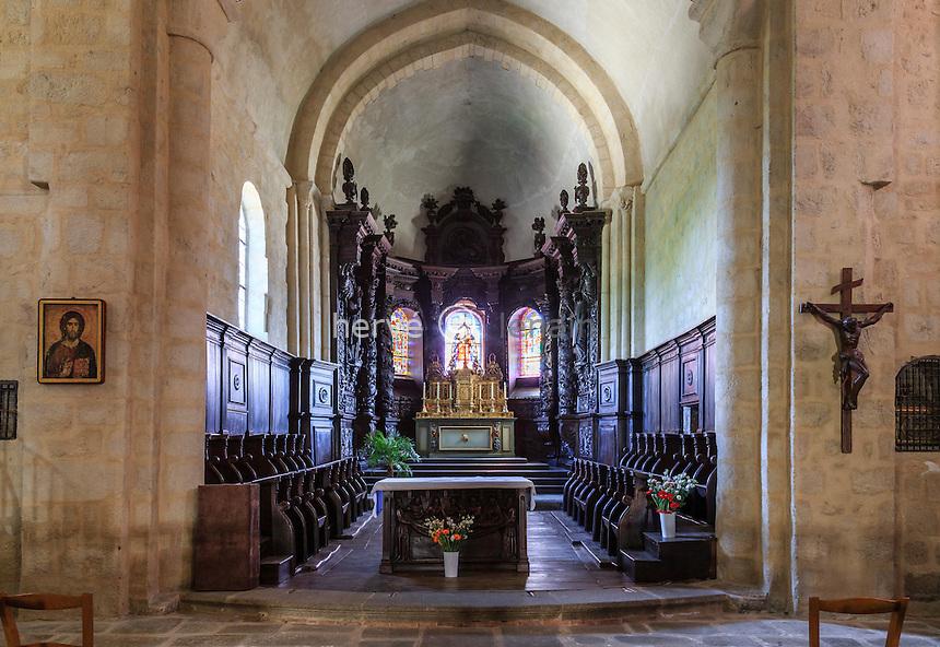 France, Creuse (23),Ahun, l'église, les boiseries du choeur // France, Creuse,, Ahun,