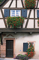 Europe/France/Alsace/67/Bas-Rhin/Saint-Jean-Saverne: Détail vielle maison du village