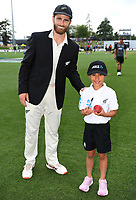29th November 2019, Hamilton, New Zealand;  Kane Williamson with the ANZ Coin toss winner on day 1 of the 2nd international cricket test match between New Zealand and England at Seddon Park, Hamilton, New Zealand. Friday 29 November 2019