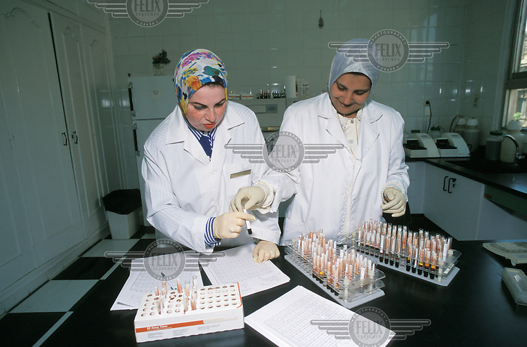 A hospital laboratory where blood samples are tested for the HIV virus.