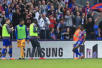 Wilfred Zaha of Crystal Palace celebrates with Christian Benteke of Crystal Palace during Crystal Palace vs Brighton & Hove Albion, Premier League Football at Selhurst Park on 14th April 2018