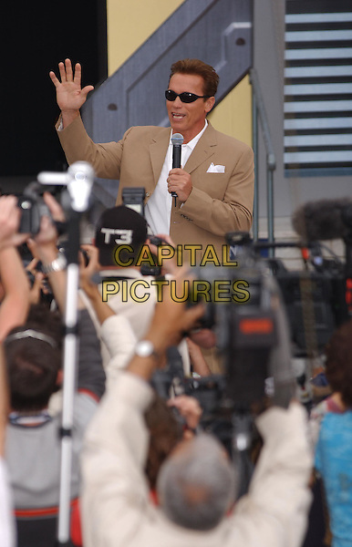 ARNOLD SCHWARZENEGGER.Arnie.outside Carlton Hotel, photocall for T3.Terminator 3.Cannes Film Festival 2003.www.capitalpictures.com.sales@capitalpictures.com.©Capital Pictures