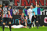 06.10.2019, Commerzbankarena, Frankfurt, GER, 1. FBL, Eintracht Frankfurt vs. SV Werder Bremen, <br /> <br /> DFL REGULATIONS PROHIBIT ANY USE OF PHOTOGRAPHS AS IMAGE SEQUENCES AND/OR QUASI-VIDEO.<br /> <br /> im Bild: Milos Veljkovic (SV Werder Bremen #13), Martin Hinteregger (Eintracht Frankfurt #13), Davy Klaassen (SV Werder Bremen #30), Schiedsrichter Guido Winkmann<br /> <br /> Foto © nordphoto / Fabisch