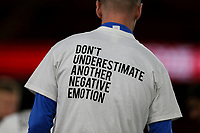 Players from both sides warm up wearing t-shirts promoting mental health awareness charity Talk Today<br /> <br /> Photographer Alex Dodd/CameraSport<br /> <br /> The EFL Sky Bet Championship - Middlesbrough v Preston North End - Tuesday 1st October 2019  - Riverside Stadium - Middlesbrough<br /> <br /> World Copyright © 2019 CameraSport. All rights reserved. 43 Linden Ave. Countesthorpe. Leicester. England. LE8 5PG - Tel: +44 (0) 116 277 4147 - admin@camerasport.com - www.camerasport.com