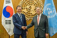 NOVA YORK, EUA - 22.09.2019 - ONU-NOVA YORK - Mr. Moon Jae-in, Presidente da Coreia do Sul durante encontro com  Antonio Guterres Secretário-geral das Nações Unidas na sede das Nações Unidas (ONU) em Nova York nos Estados Unidos nesta segunda-feira, 23 setembro. (Foto: Vanessa Carvalho/Brazil Photo Press)
